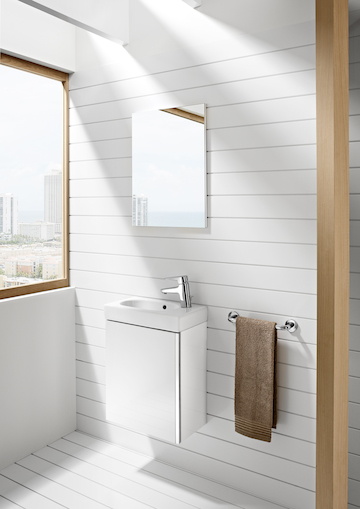 Móvel Casa de banho e espelho Unik Mini Branco Brilhante 2 - ROCA - Aurymat