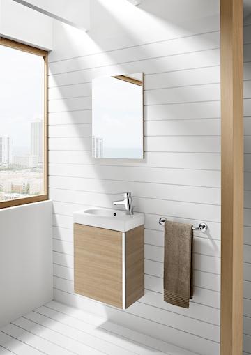 Móvel Casa de banho e espelho Unik Mini Carvalho Texturado 2 - ROCA - Aurymat