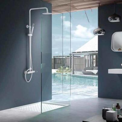 Rampa duche com torneira Milos Branco Mate - wc - Aurymat 2