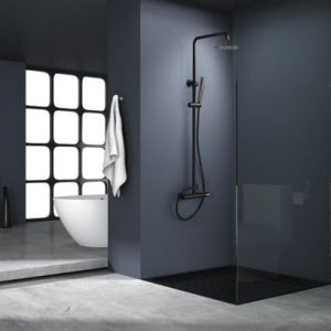 Rampa duche com torneira Milos Preto Rosa Ouro - wc - Aurymat 2