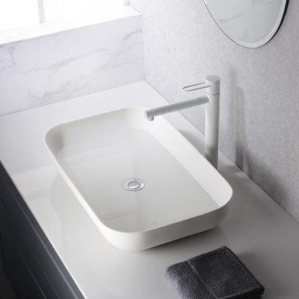 Torneira alta de lavatório Milos Branco Mate - wc - Aurymat 2