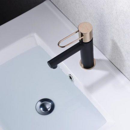 Torneira de lavatório Milos Preto Rosa Ouro - wc - Aurymat 2