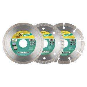 Jogo 3 discos diamantados de corte 110mm Wolfcraft - Aurymat