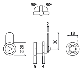 Fechadura de contador chave triangular glk 704E dt