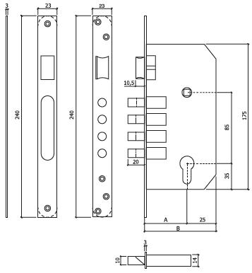 Fechadura de segurança glk 3200x60 dt