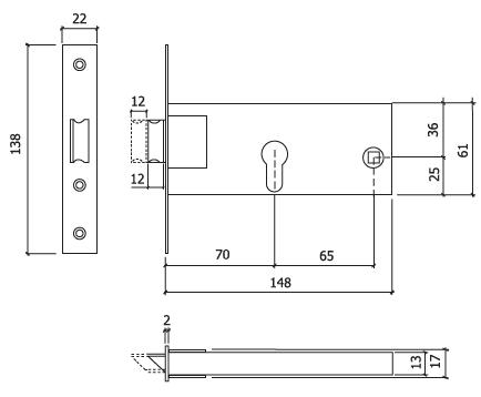 Fechadura porta aluminio glk 727 cilindro dt