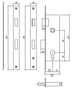 Fechadura porta aluminio glk 728x20LC dt