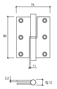 dobradiça 3,5 balanço direita GLK 475 dt