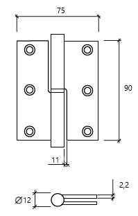 dobradiça 3,5 balanço esquerda GLK 475 dt