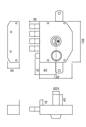 fechadura alta segurança com trancas GLK 9072 esq dt