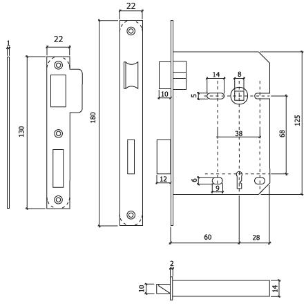 fechadura embutir porta 716 DT